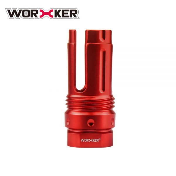 Worker 3-Prong Flash Hider Muzzle (with screw thread) - Red