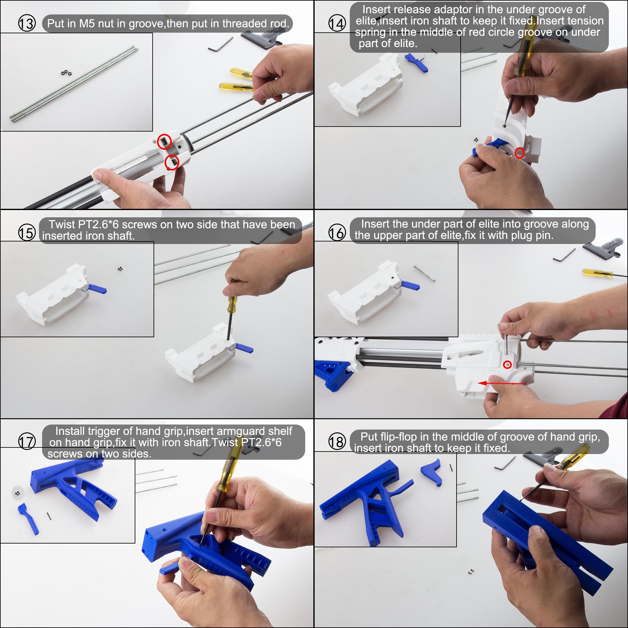 Worker Caliburn 3D Printed Nerf Blaster Kit v1.1 assembly 3