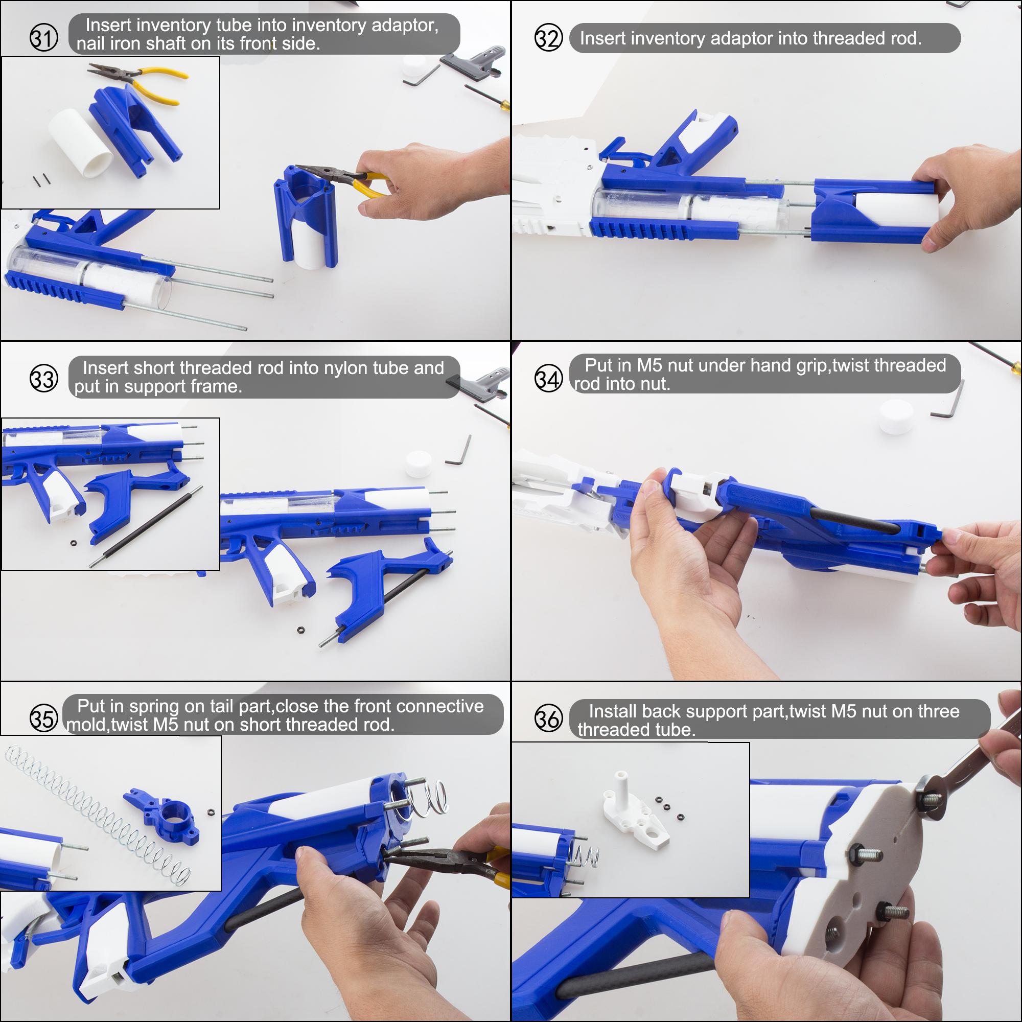 Worker Caliburn 3D Printed Nerf Blaster Kit v1.1 assembly 6
