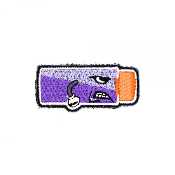 Angry Worker Short Dart Embroidered Patch Purple