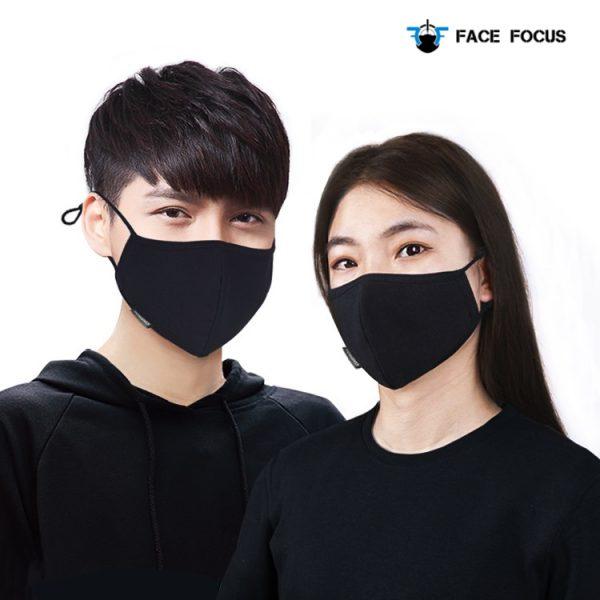 Face Focus Cotton Washable Black Face Mask - 2 pcs