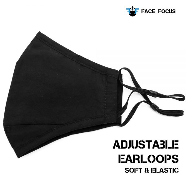 Face Focus Cotton Washable Face Mask with Filter and Nose brige - Black