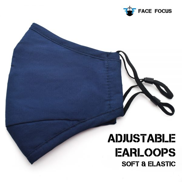 Face Focus Cotton Washable Face Mask with Filter and Nose brige - Dark Blue
