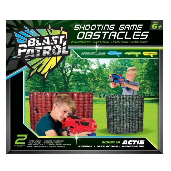 Blast Patrol Inflatable Obstacle - Red Wall + Green Barrier