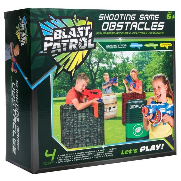 Blast Patrol Inflatable Obstacle Set - Wall + Barrier + Crate + Barrel
