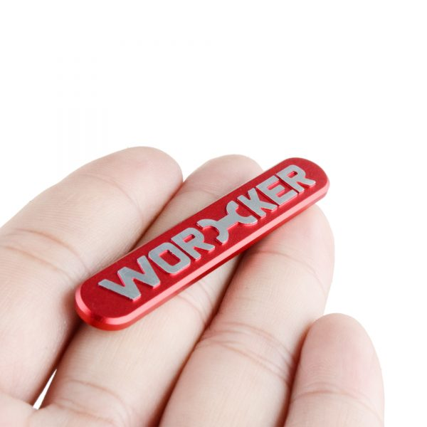 Worker Metal Logo Sticker Red